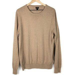 J Crew Sweater Men L Crewneck Cashmere Blend Tan